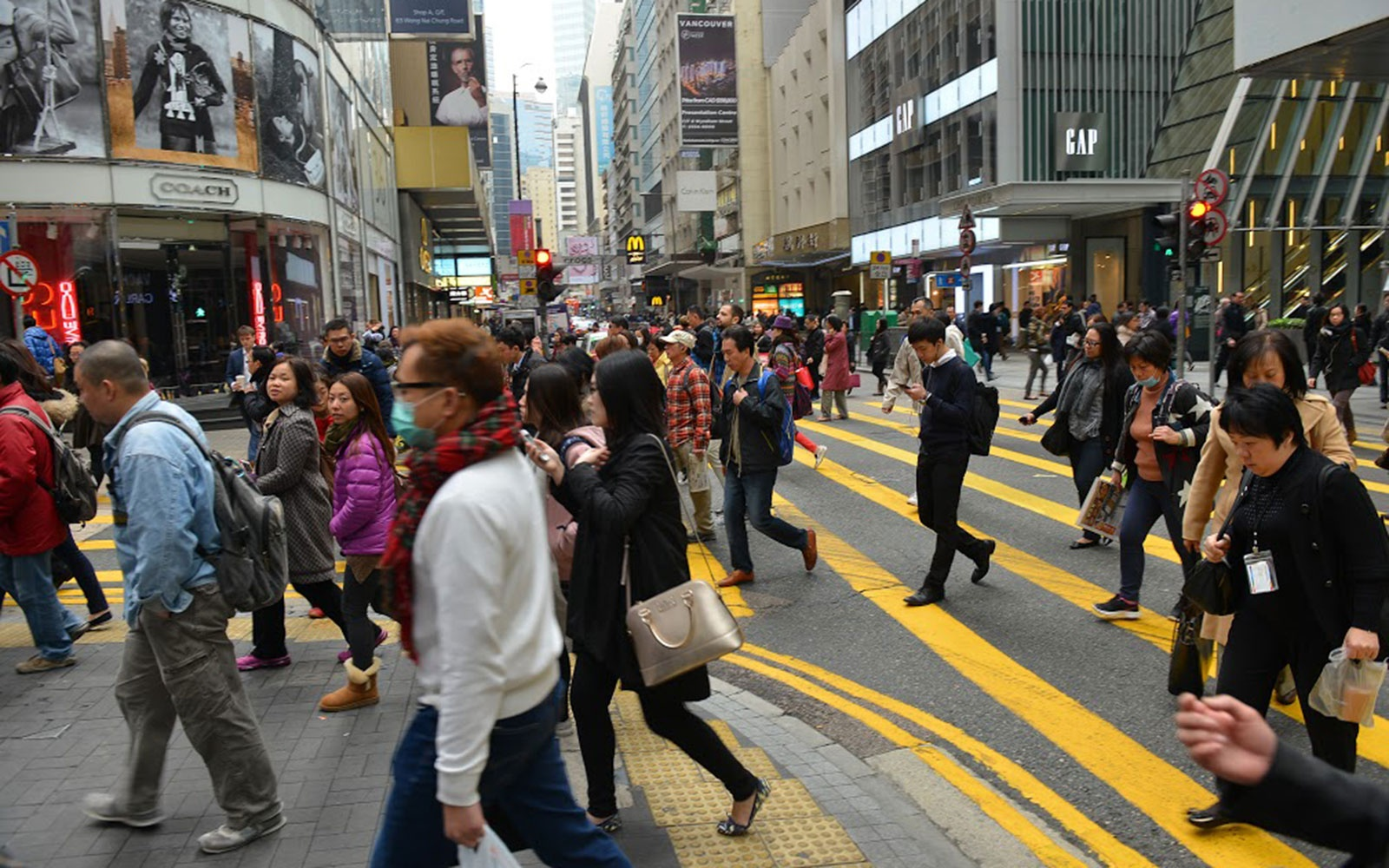 Arriving at Hong Kong's business district
