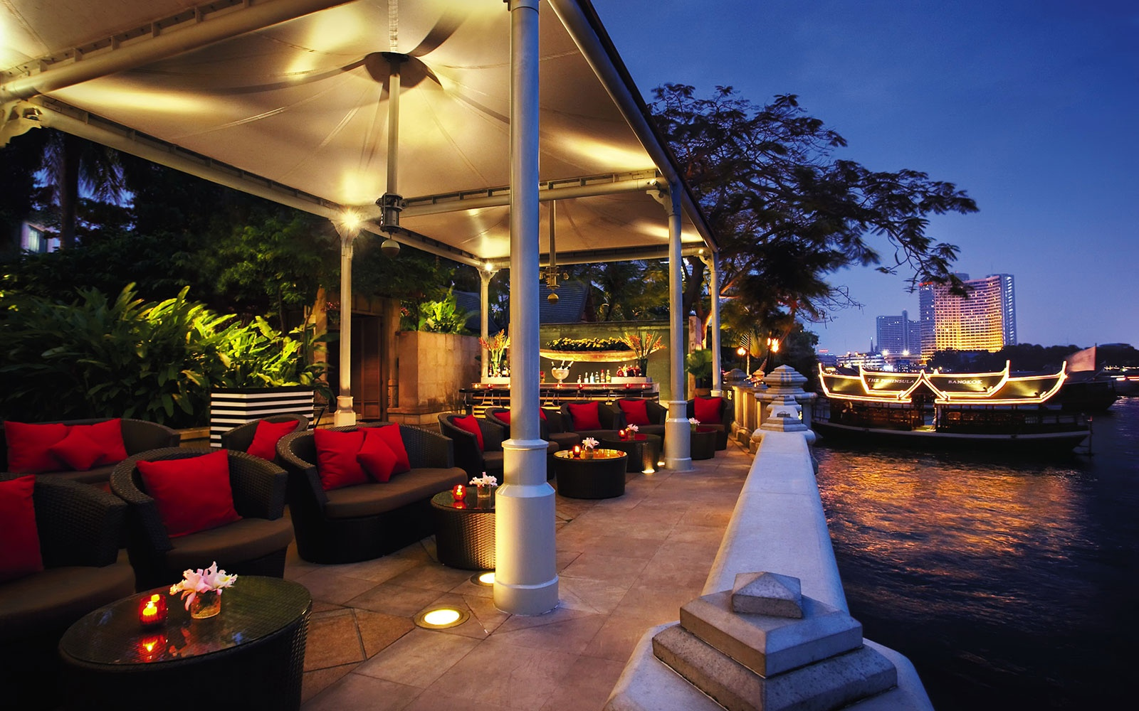 terrace on the bay at The Peninsula Bangkok, Bangkok, Thailand