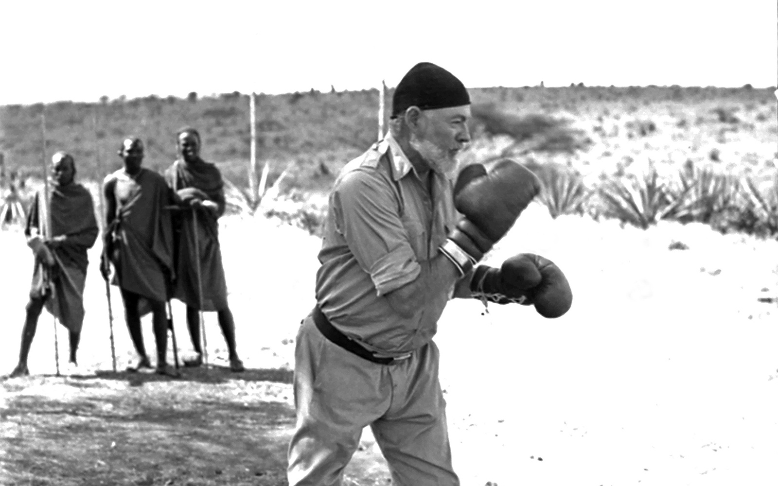 KENYA - SEPTEMBER 1952:  Author Ernest Hemingway keeps fit by boxing while on a big game hunt in September 1952 in Kenya.  (Photo by Earl Theisen/Getty Images)