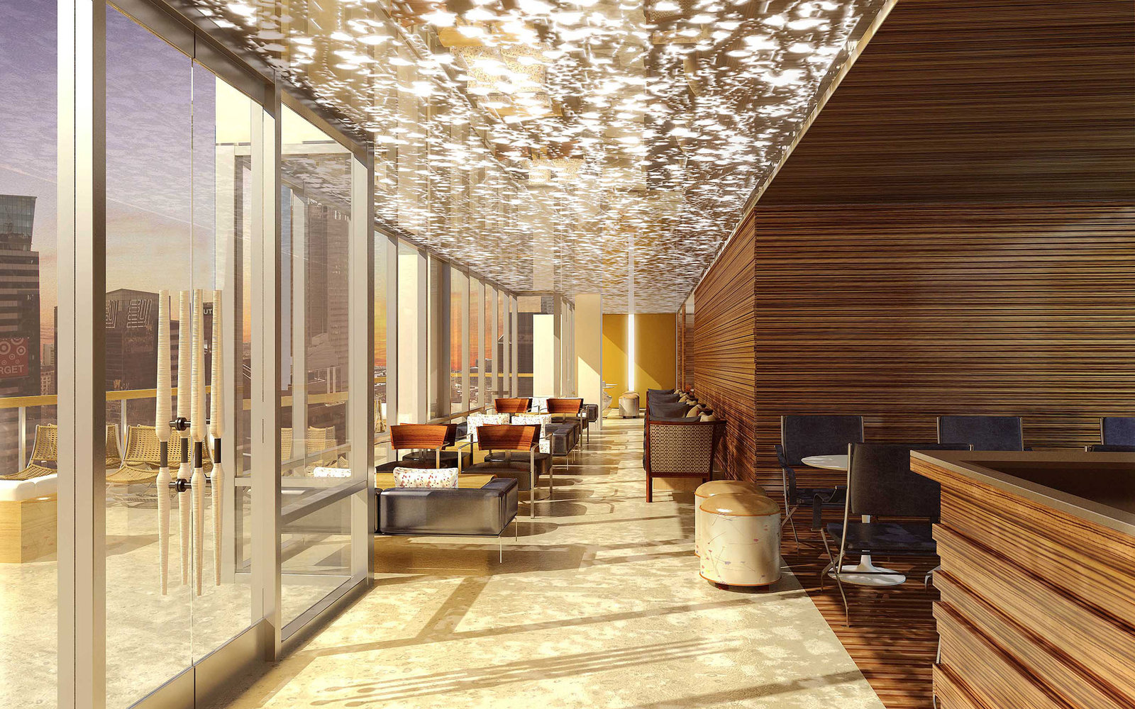 FOR DEC 10, 2013 - COMMERCIAL REAL ESTATE SECTION  ((handouts))CAPTION: NEW HOTEL Hyatt  Times Square - 135 W 45th St  caption : Rendering of Bar 54- the highest rooftop bar in NY on the 54th Floor, 500ft up.