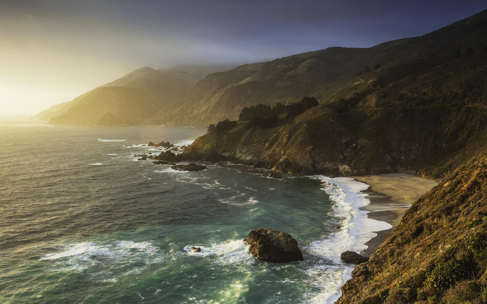 Coastline and ocean in green tones