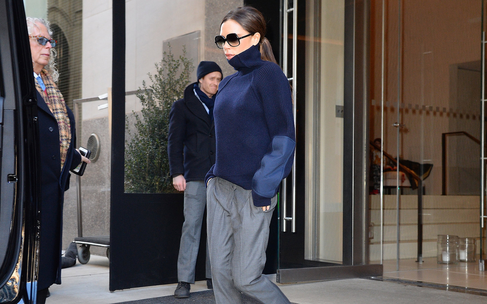 NEW YORK, NY - FEBRUARY 13:  Victoria Beckham is seen walking in soho in a Adidas Stan Smith shoes  on February 13, 2016 in New York City.  (Photo by Raymond Hall/GC Images)