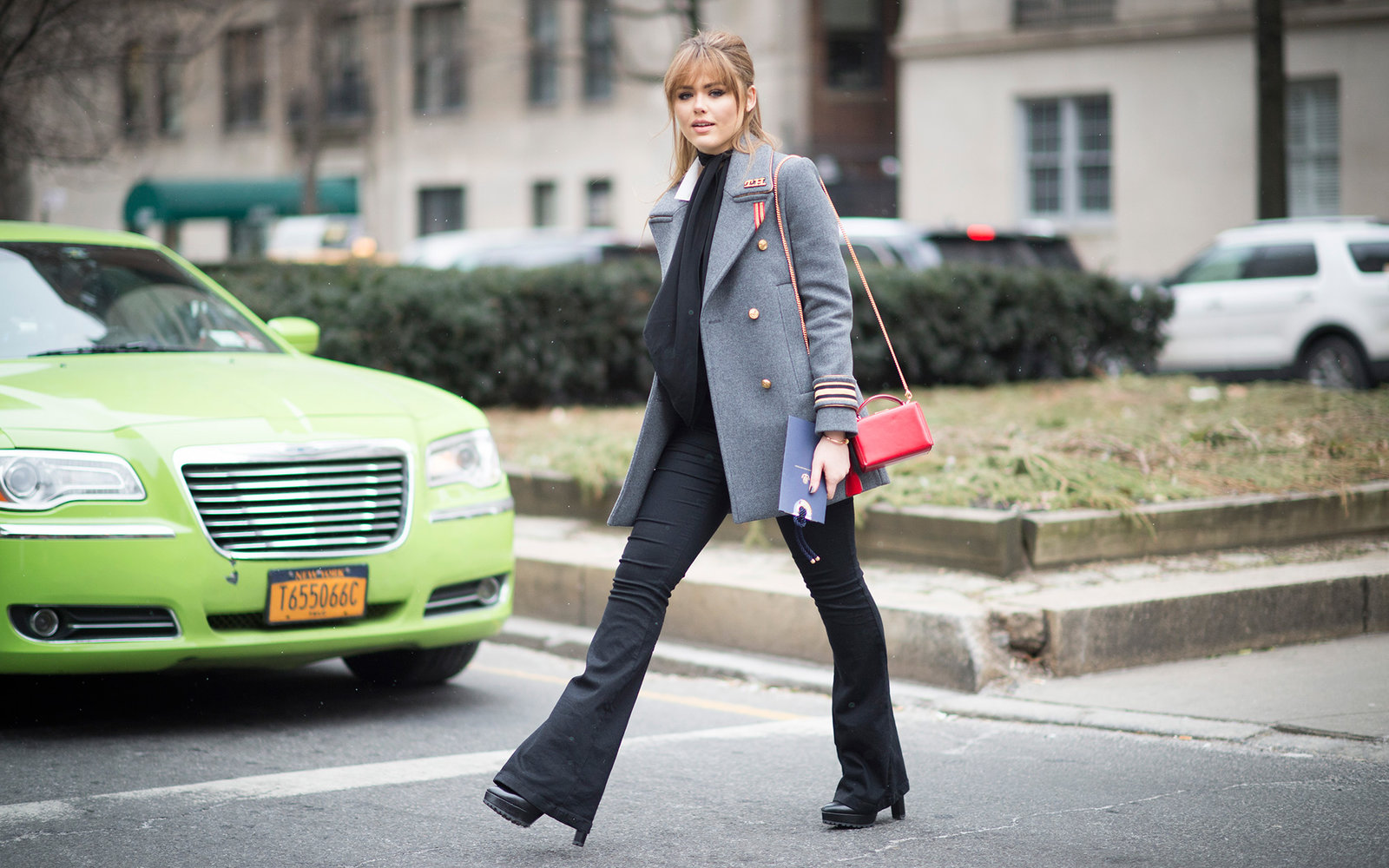 NEW YORK, NY - FEBRUARY 15:  Kristina Bazan is wearing a jacket and pants from Tommy Hilfiger seen in the streets of Manhattan during New York Fashion Week: Women's Fall/Winter 2016 on February 15, 2016 in New York City.  (Photo by Timur Emek/Getty Images