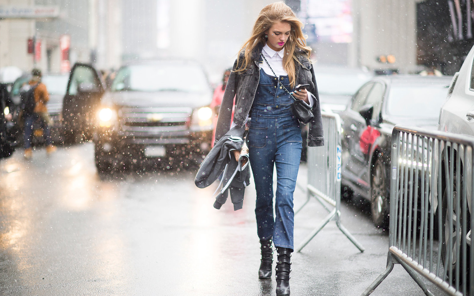 NEW YORK, NY - FEBRUARY 15:  Romee Strijd is seen wearing a denim jumpsuit after the Jeremy Scott show in the streets of Manhattan  during New York Fashion Week: Women's Fall/Winter 2016 on February 15, 2016 in New York City.  (Photo by Timur Emek/Getty I