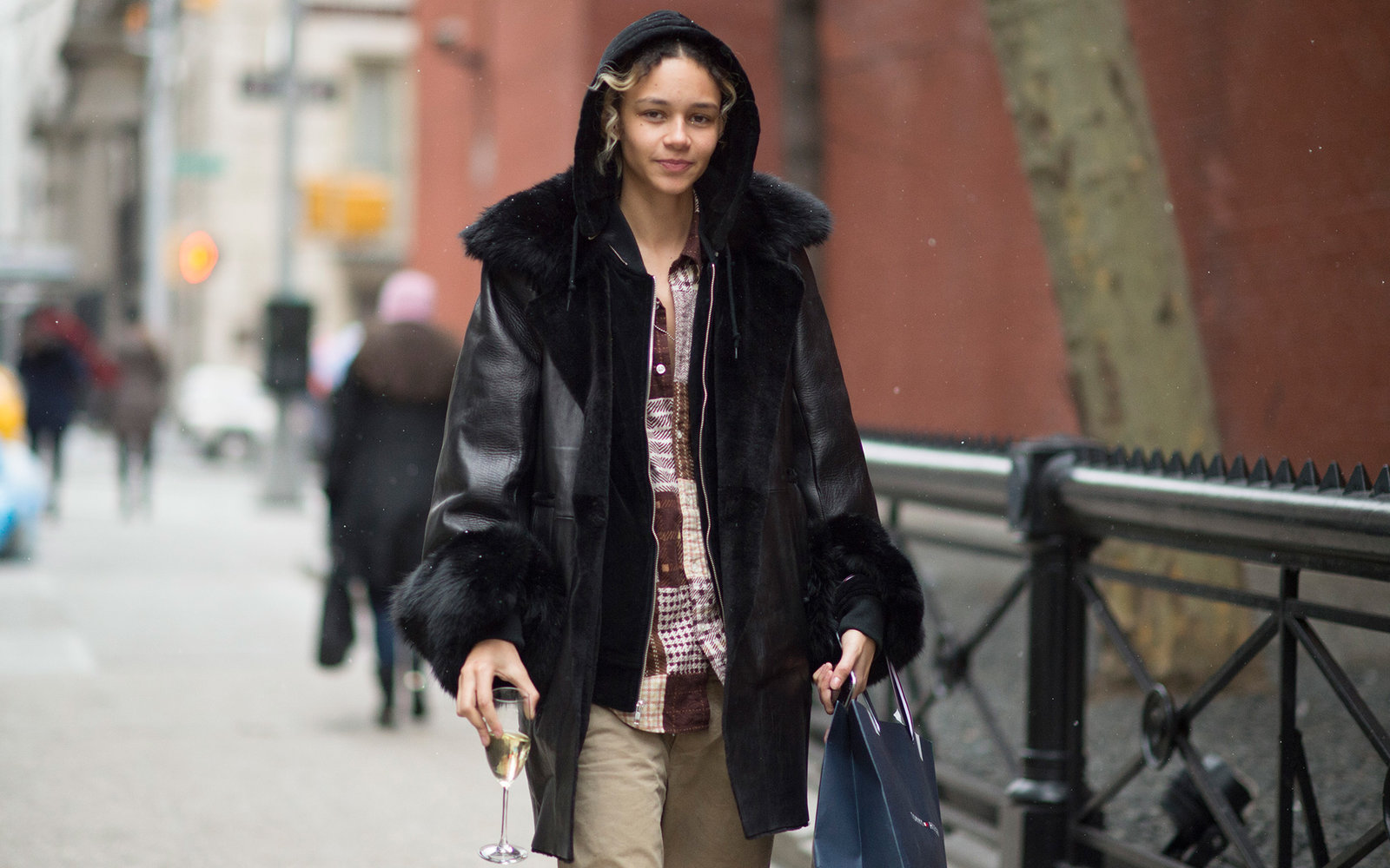 NEW YORK, NY - FEBRUARY 15:  Binx Walton is seen wearing a leather jacket  in the streets of Manhattan after the Tommy Hilfiger show  during New York Fashion Week: Women's Fall/Winter 2016 on February 15, 2016 in New York City.  (Photo by Timur Emek/Getty