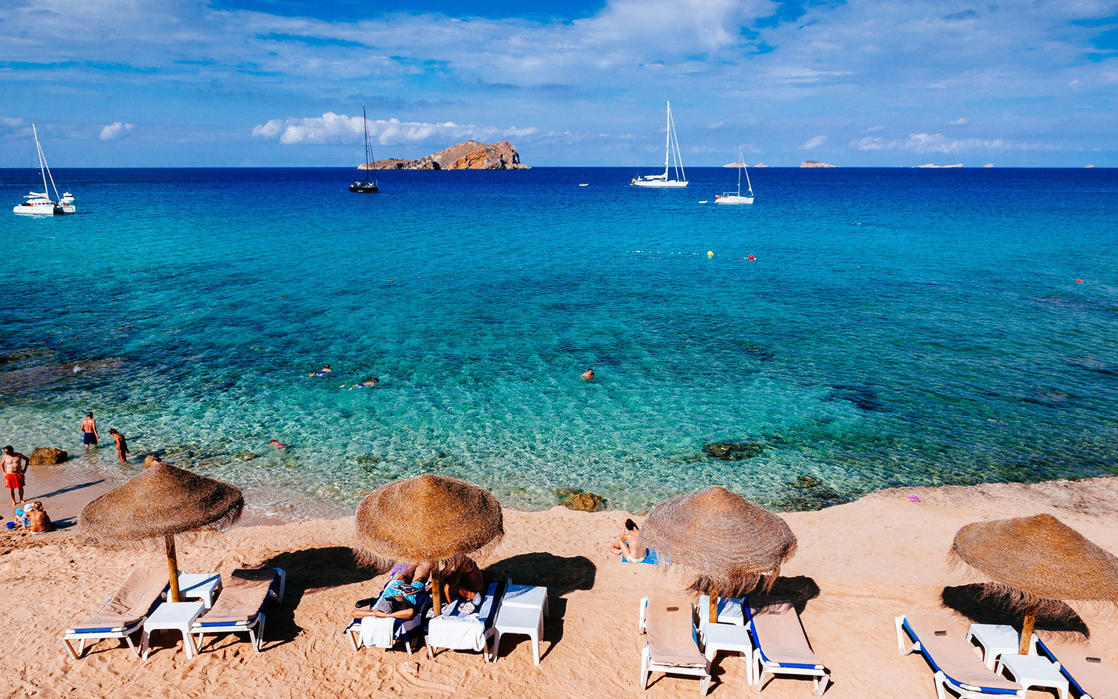 IBIZA, BALEARIC ISLANDS, SPAIN - 2014/08/30: Cala Compte beach. (Photo by Raquel Maria Carbonell Pagola/LightRocket via Getty Images)