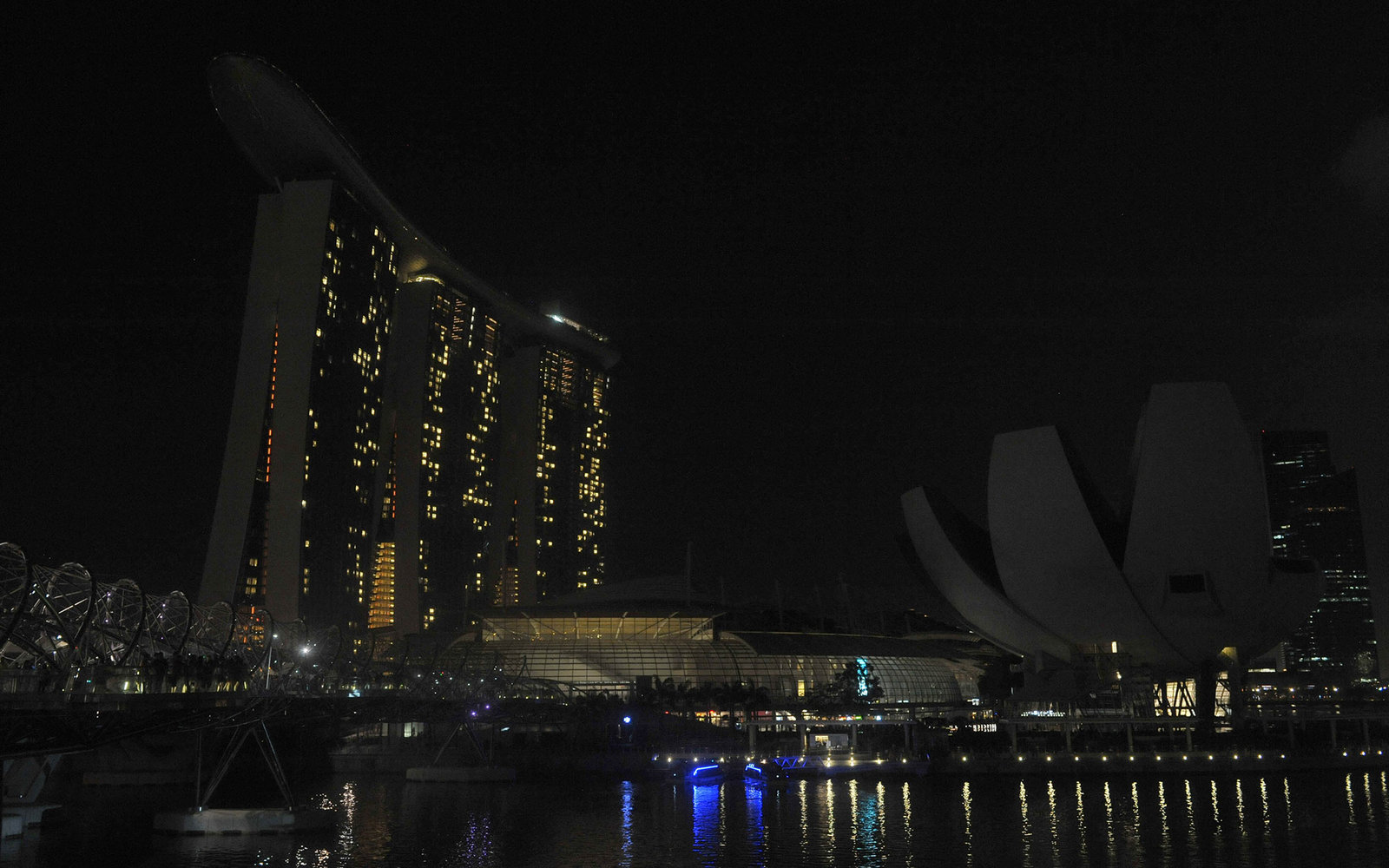 The Marina Bay Sands is pictured with its lights turned off during Earth Hour in Singapore on March 29, 2014. Lights will go out in some 7,000 cities and towns from New York to New Zealand for Earth Hour which this year aims to raise hundreds of thousands