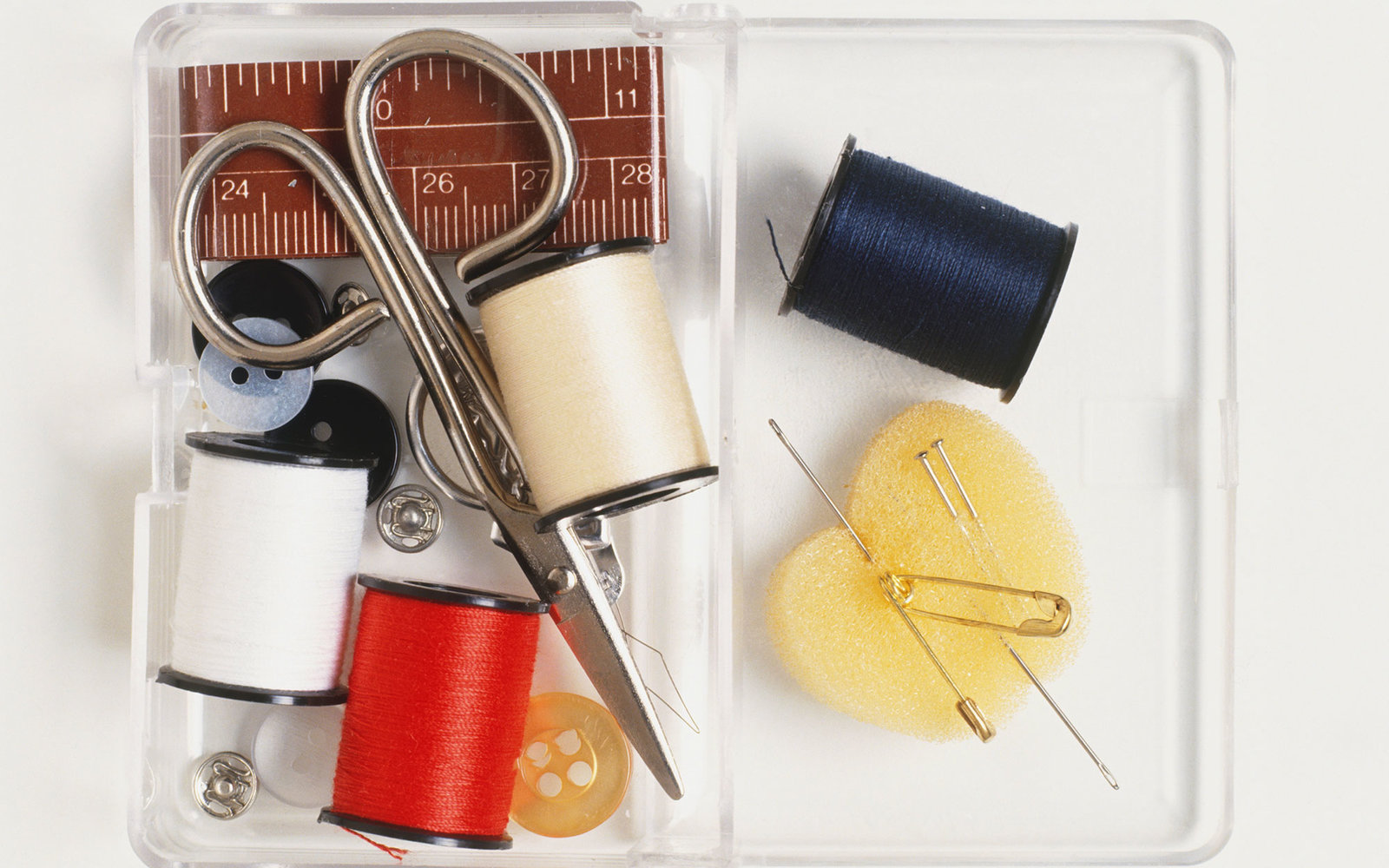 Compact sewing kit, view from above