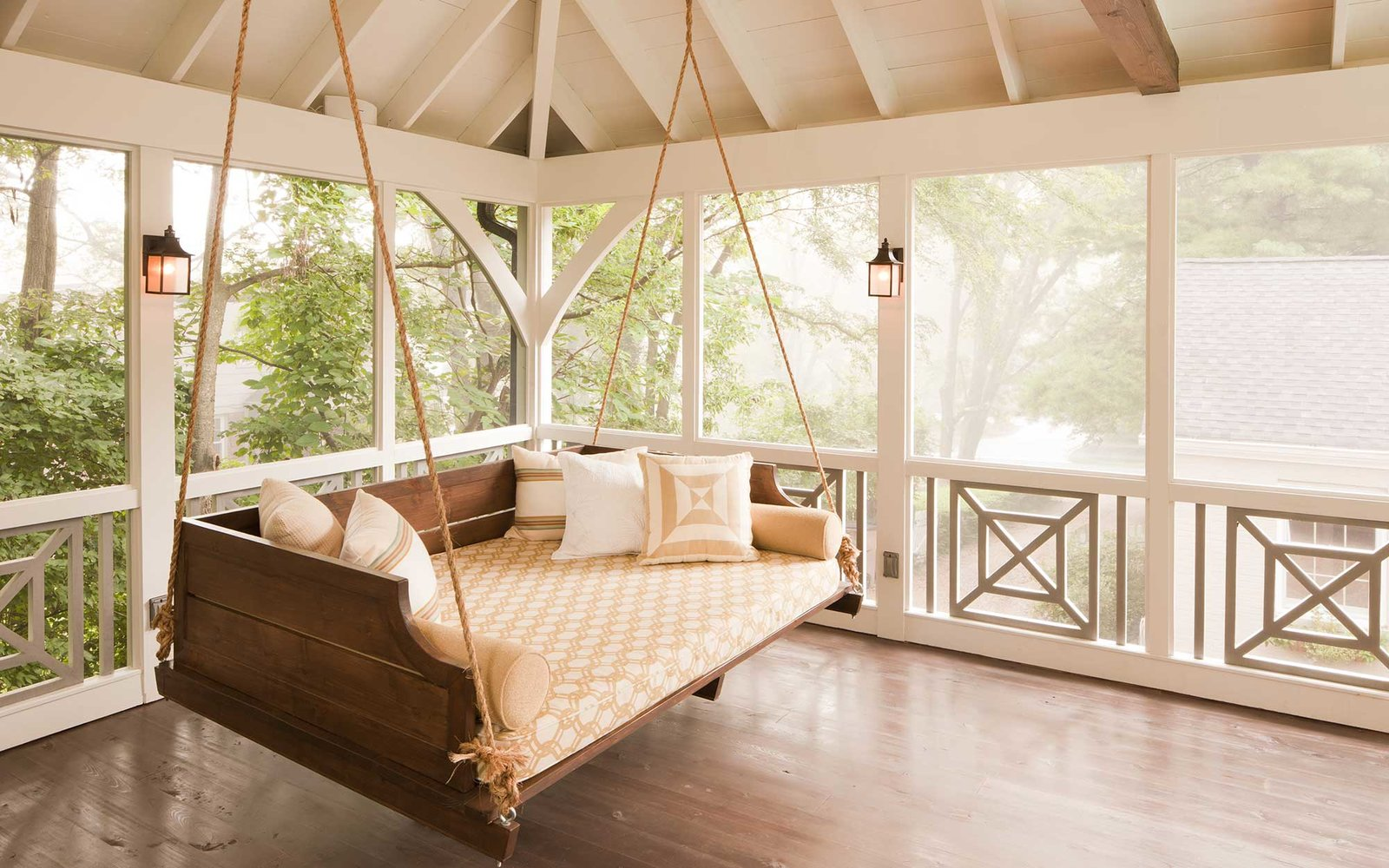 Large Comfortable Porch Swing in Screened Porch with Wooden Floor, Nashville, USA