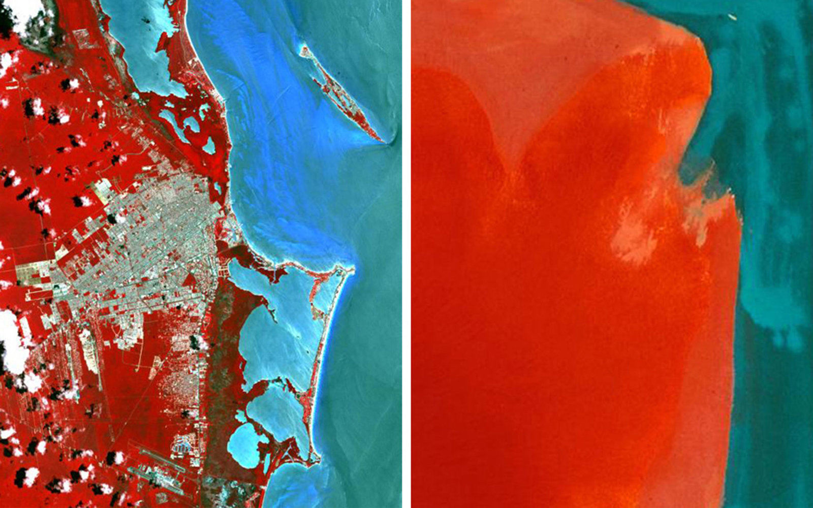 Pictured left: Cancun Mexico on May 14, 2014; Pictured right: Helen Frankenthaler, Canyon, 1965