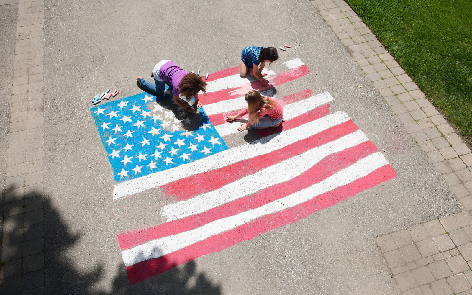 Chalk Illustrations on the Fourth of July
