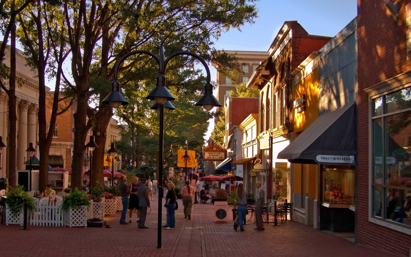 Main Street Pedestrian mall, Charlottesville VA. (Photo by: MyLoupe/UIG via Getty Images)