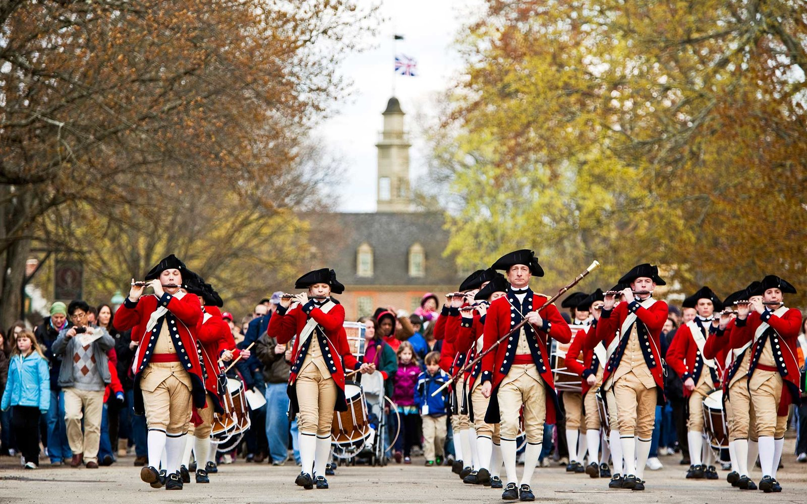 Historic building with marching reenactors