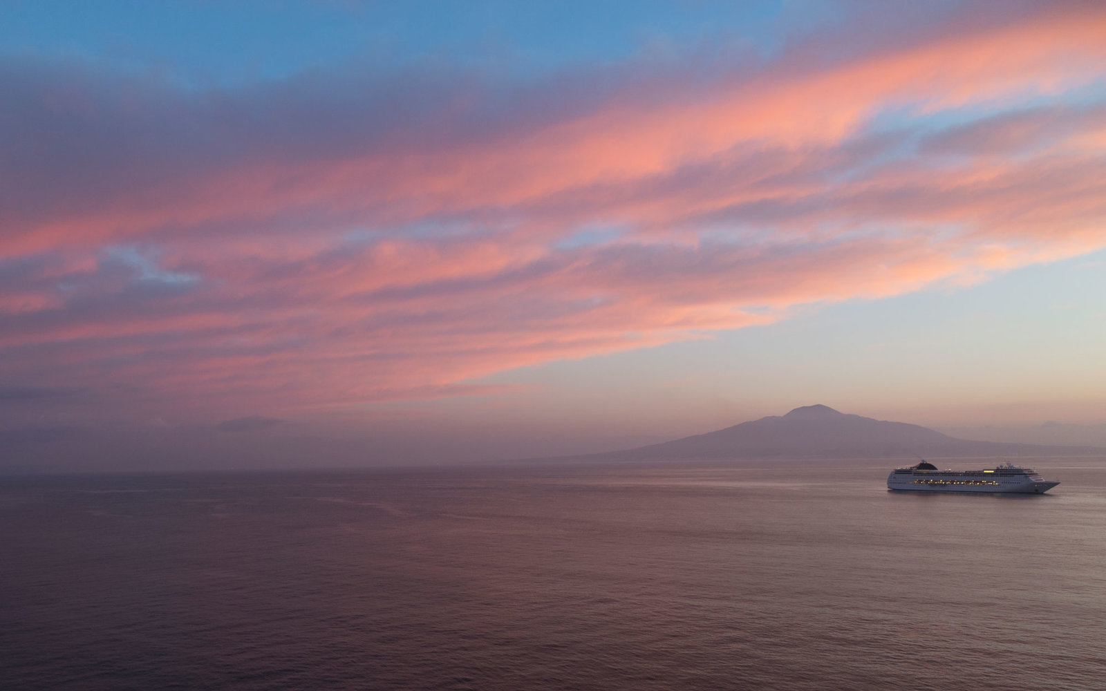 cruise ship near Mount Vesuvius
