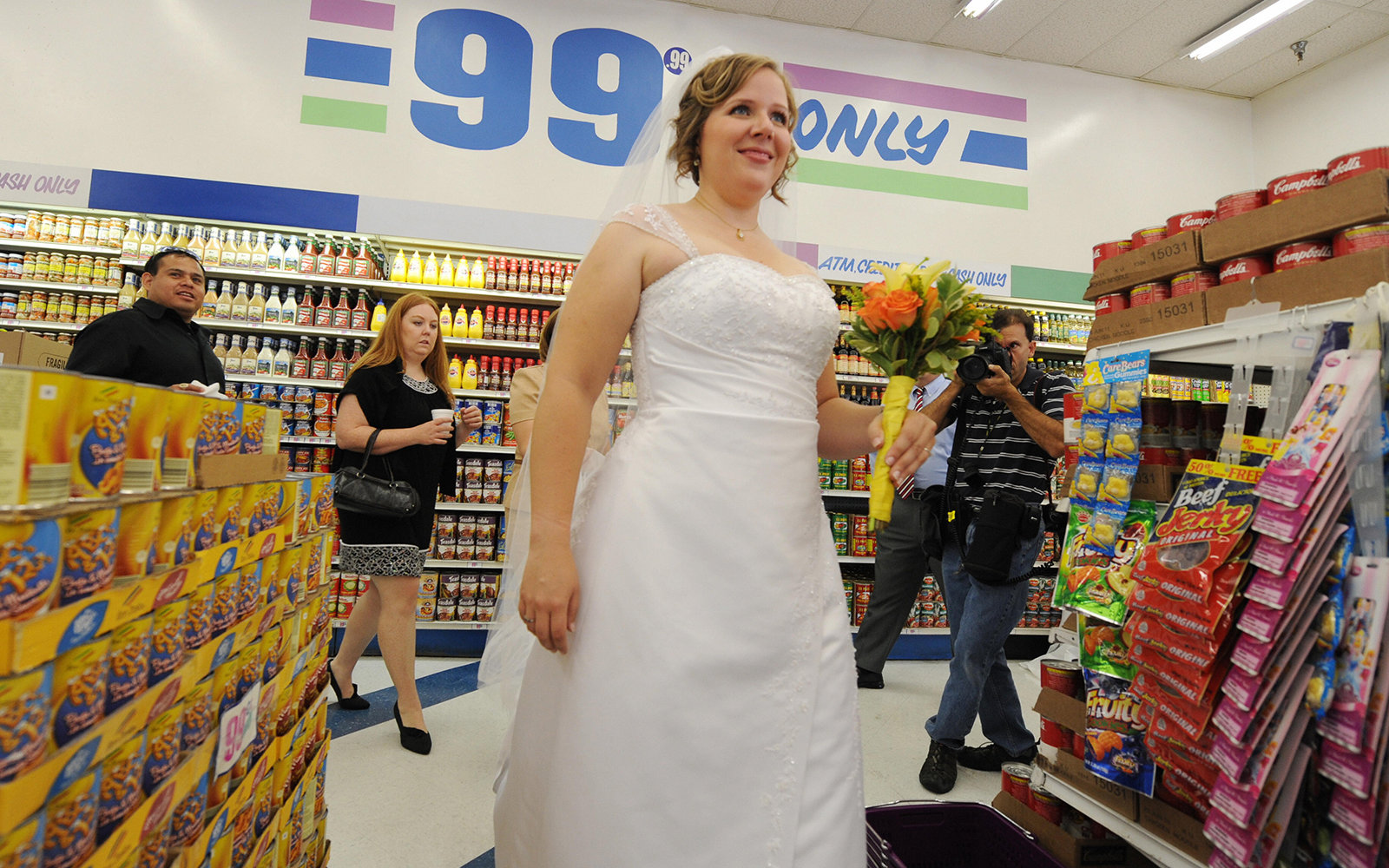 wedding ceremony at the 99 cent store in Los Angeles, CA