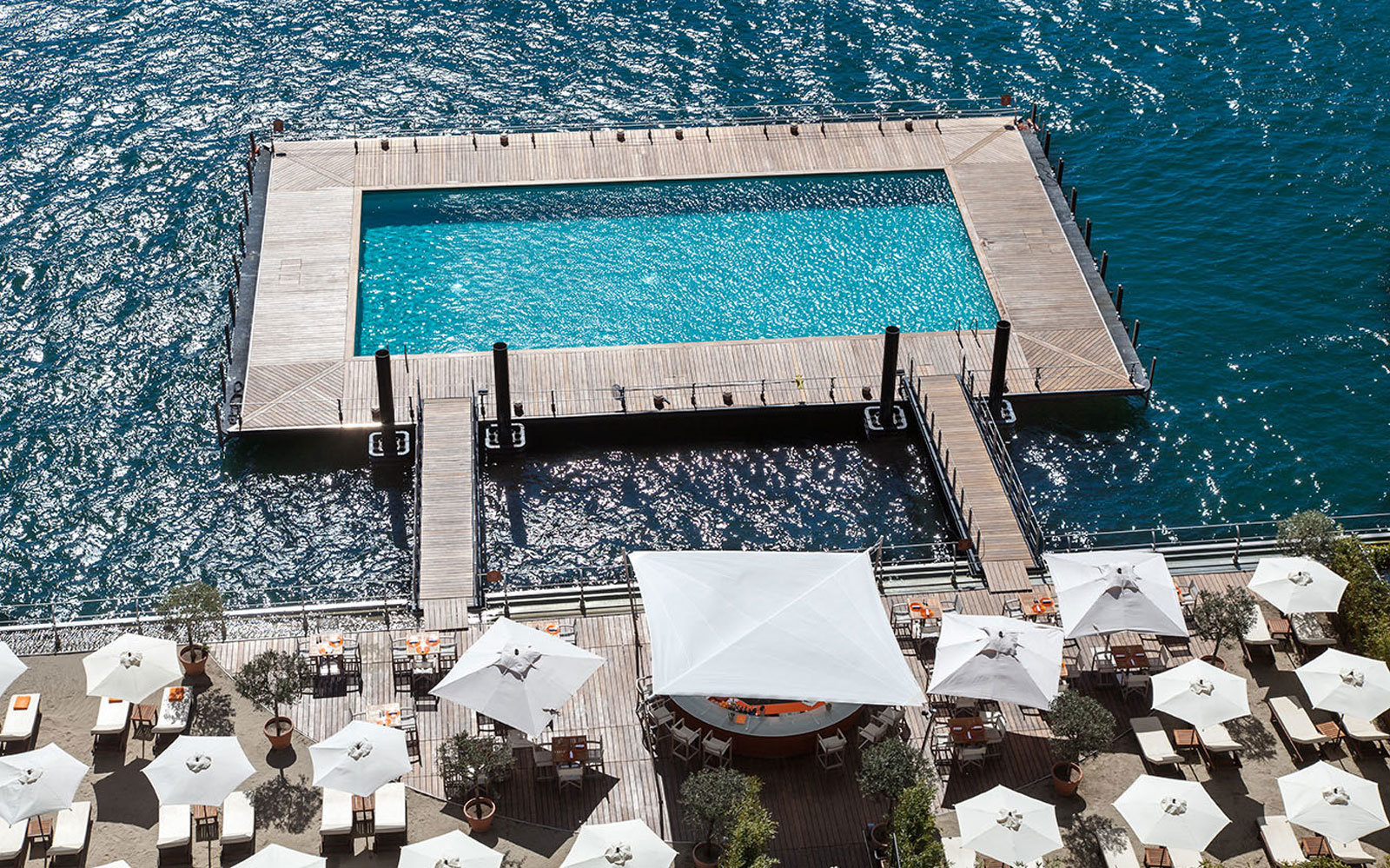 The Floating Lake Pool at Grand Hotel Tremezzo in Lake Como,   Italy