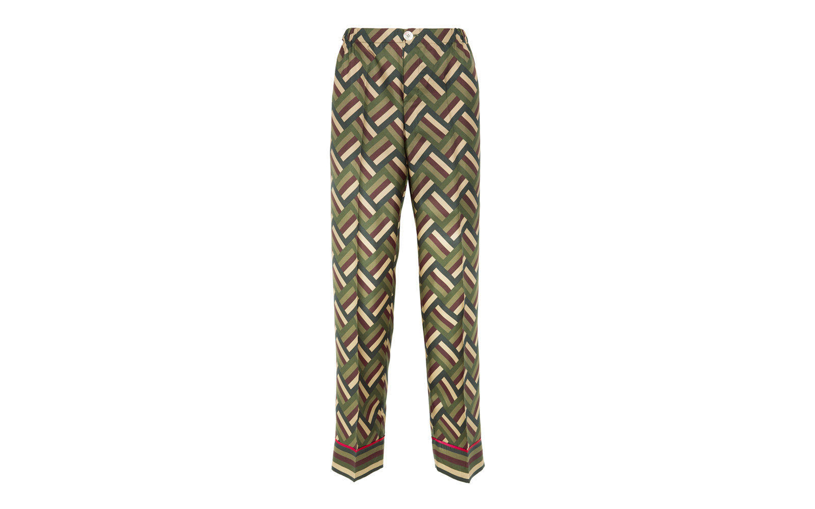 For Restless Sleepers Printed Silk Twill Wide Leg Pants