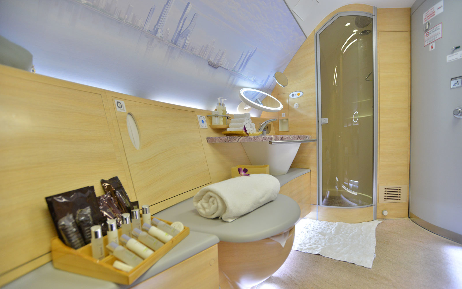 emirates a380 onboard shower