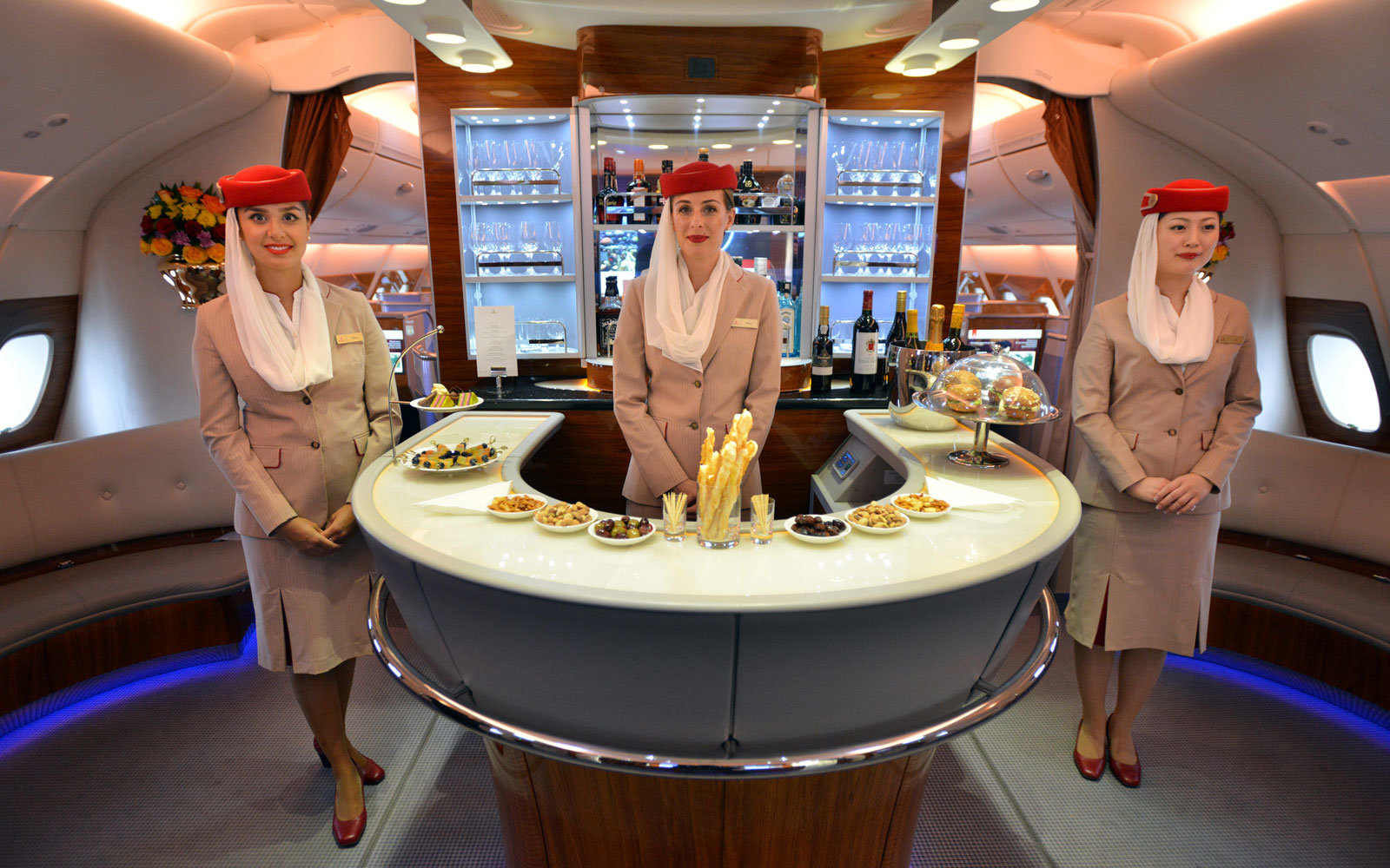 emirates a380 onboard lounge photo
