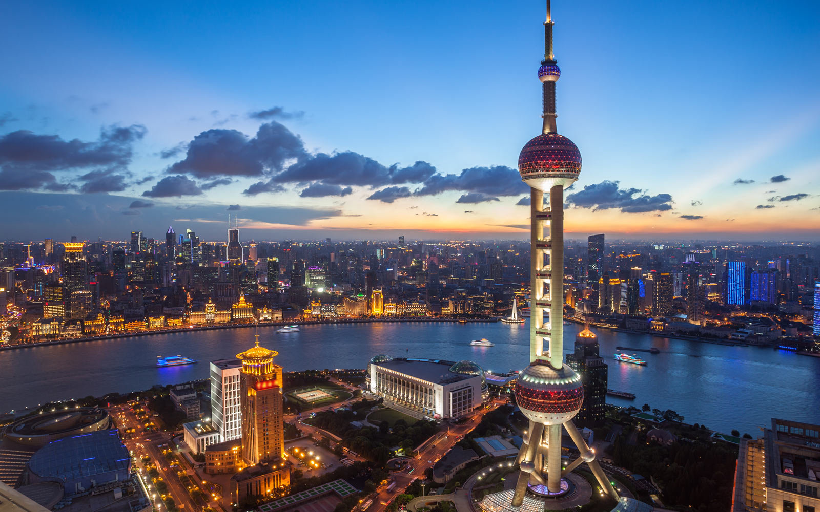 The Bund and Oriental Pearl Tower, Shanghai, China