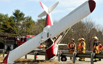 Plane Crashes Nose-down on Maine Highway | Travel + Leisure