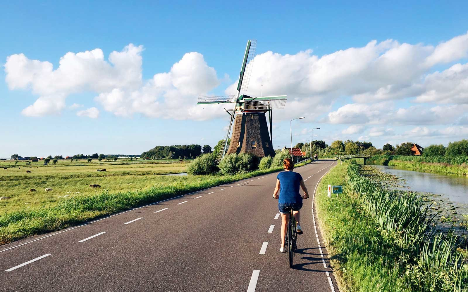 Windmill and Bicycle in the Netherlands