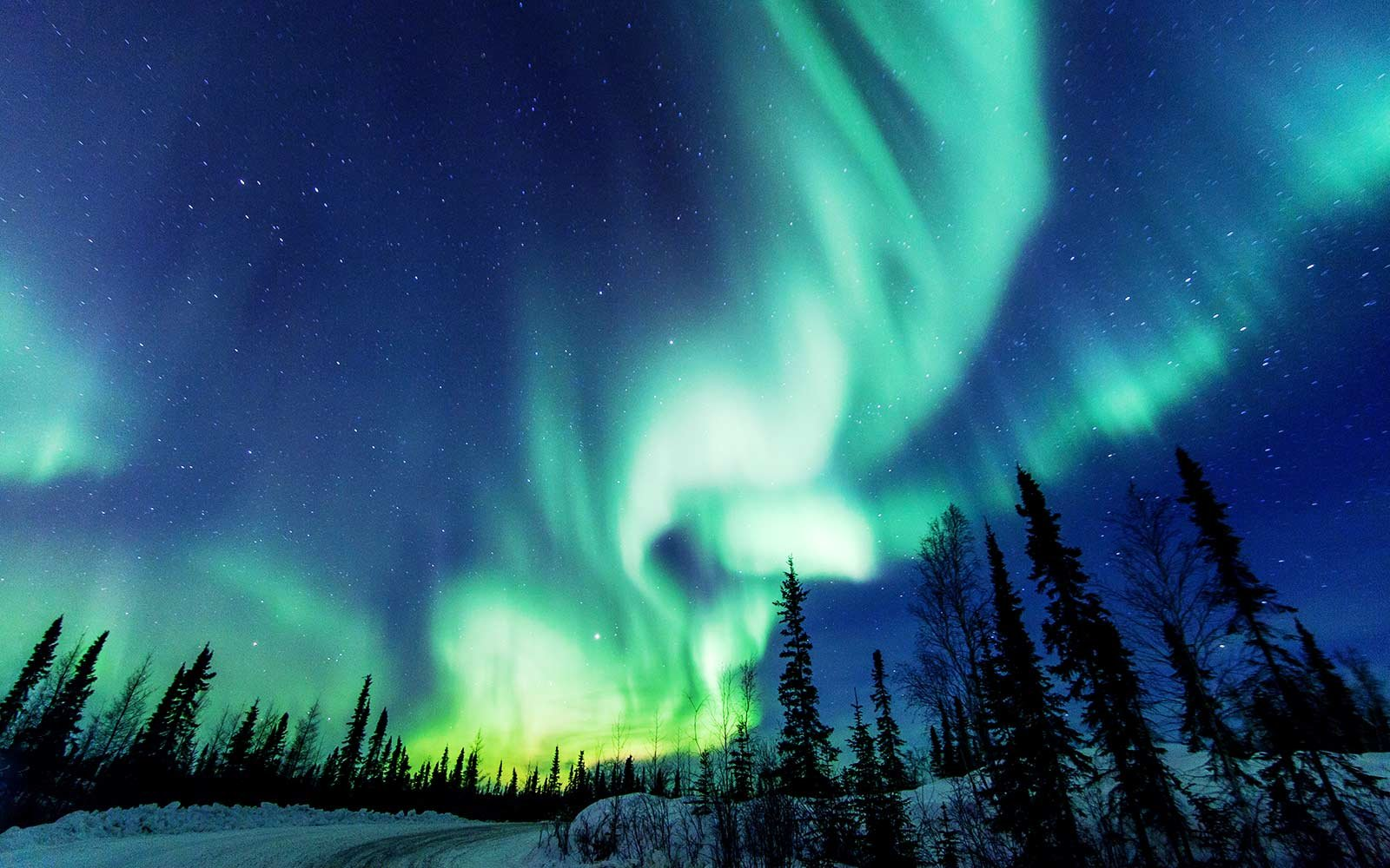 Aurora Borealis close to Yellowknife in the Northwest Territories in Canada