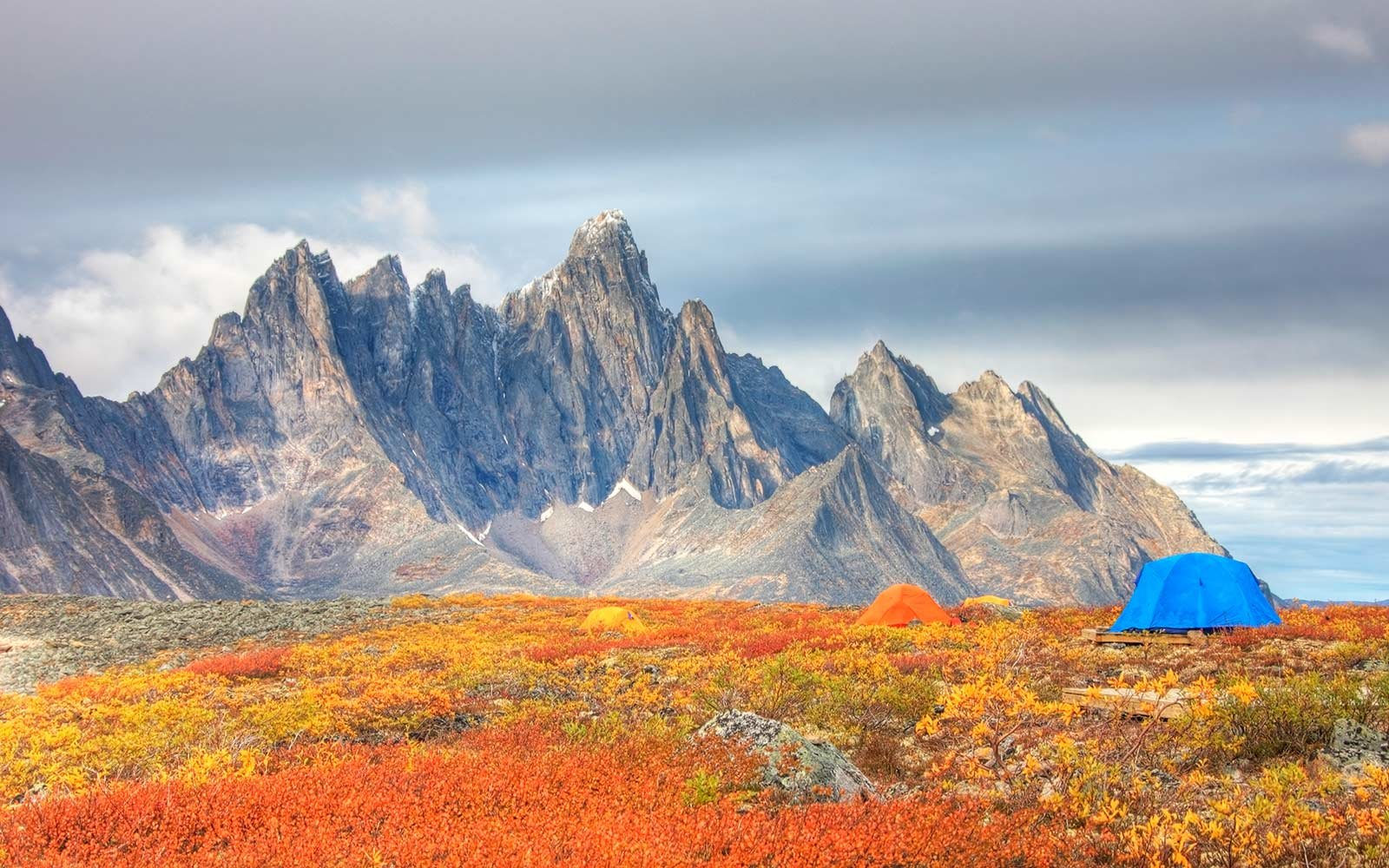 Camping in the Tombstone Valley in front of Tombstone Mountain, Yukon, Canada
