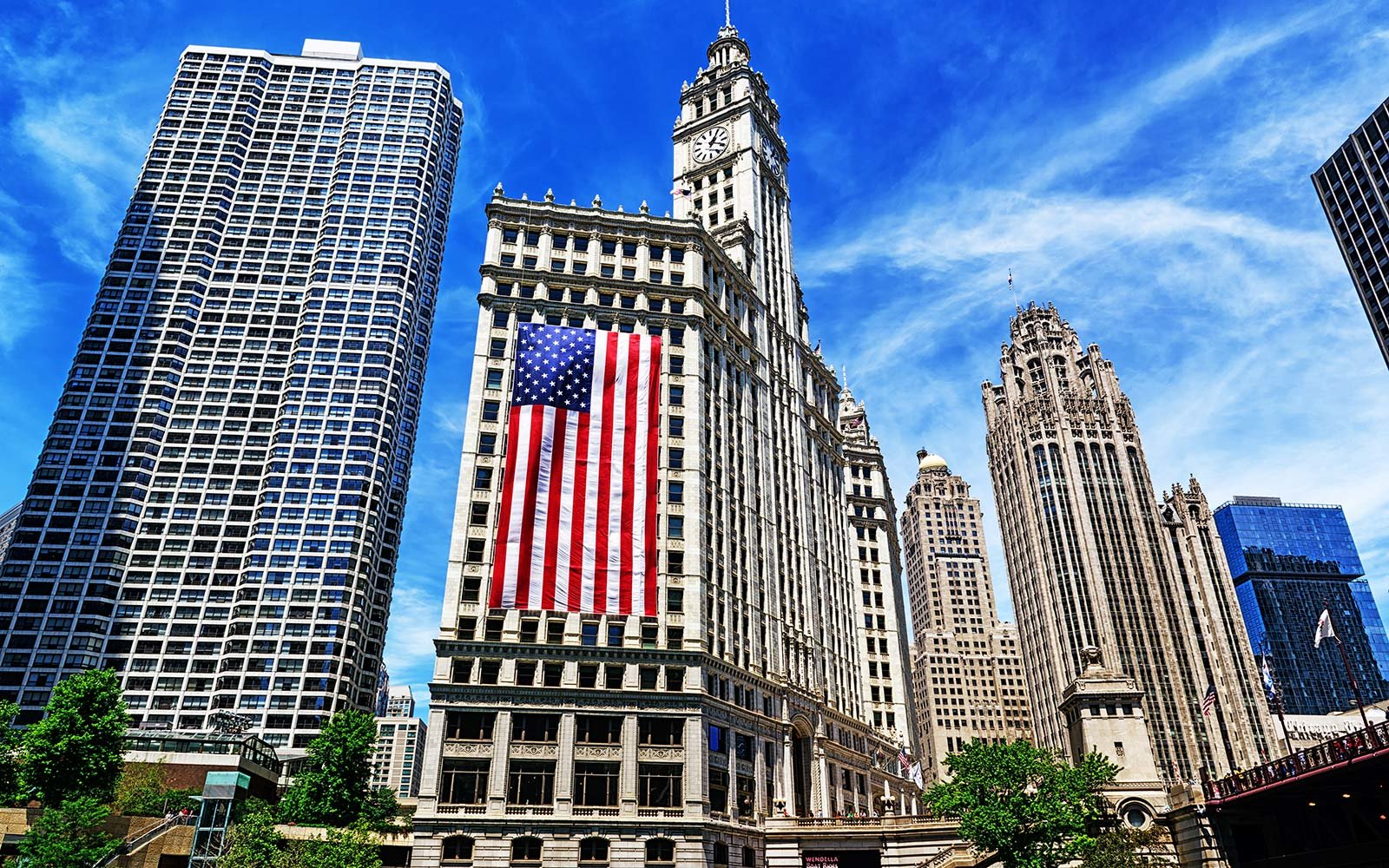 Fourth of July Independence Day Celebrations Holiday Wrigley Building Chicago Illinois