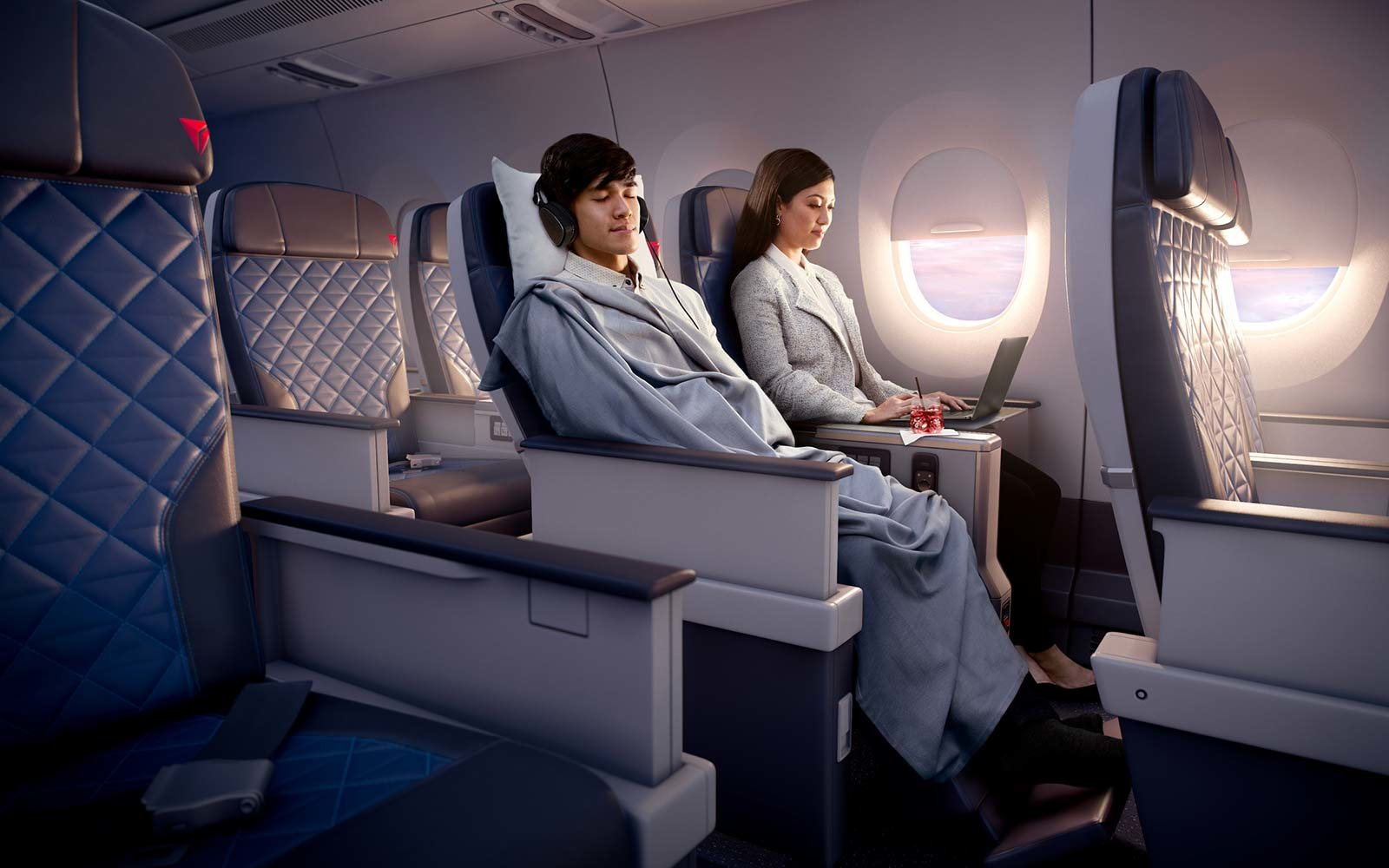 Delta Airlines Airbus A350 The Delta Premium cabin was designed with comfort in mind on Delta's longest flights