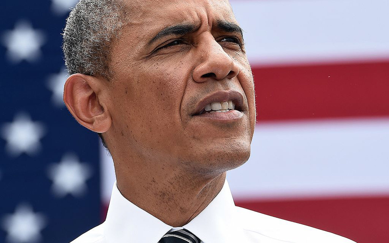 US President Barack Obama speaks on economy at the Turner-Fairbank Highway Research Center in McLean, Virginia, on July 15, 2014. AFP PHOTO/Jewel Samad        (Photo credit should read JEWEL SAMAD/AFP/Getty Images)