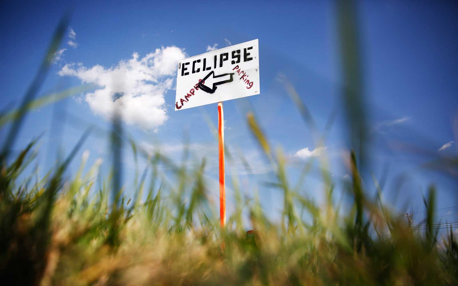 Eclipse Parking is seen along the side of the road in Hopkinsville city nearest the point of greatest eclipse, Aug. 20, 2017
