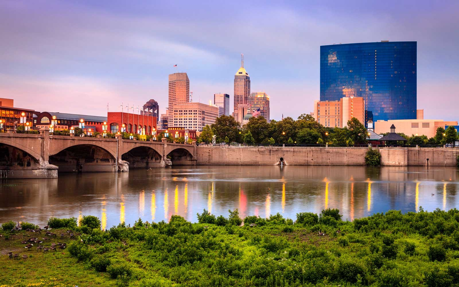 Beautiful view of Indianapolis skyline and the White River at sunset