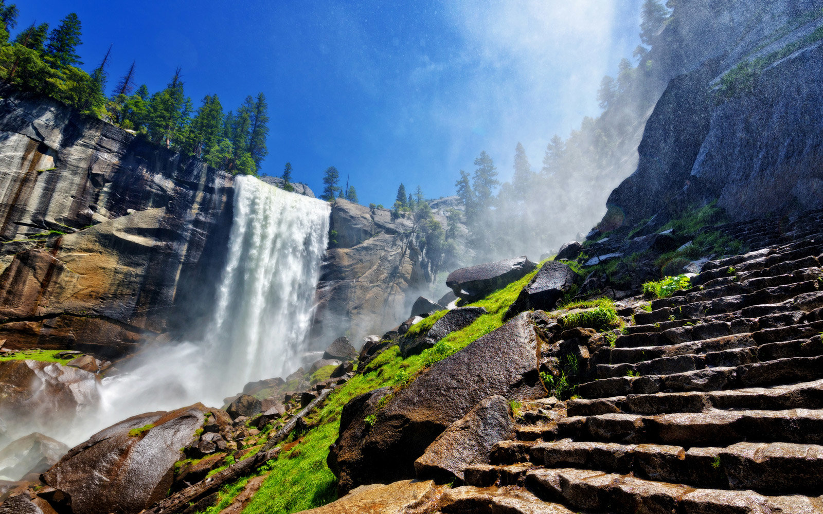 Heavy spray from Vernal Falls along the Mist Trail in early summer, Yosemite National Park