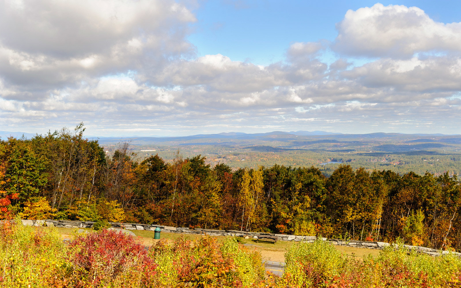 Fall day Wachusett Mountain clouds distant hills