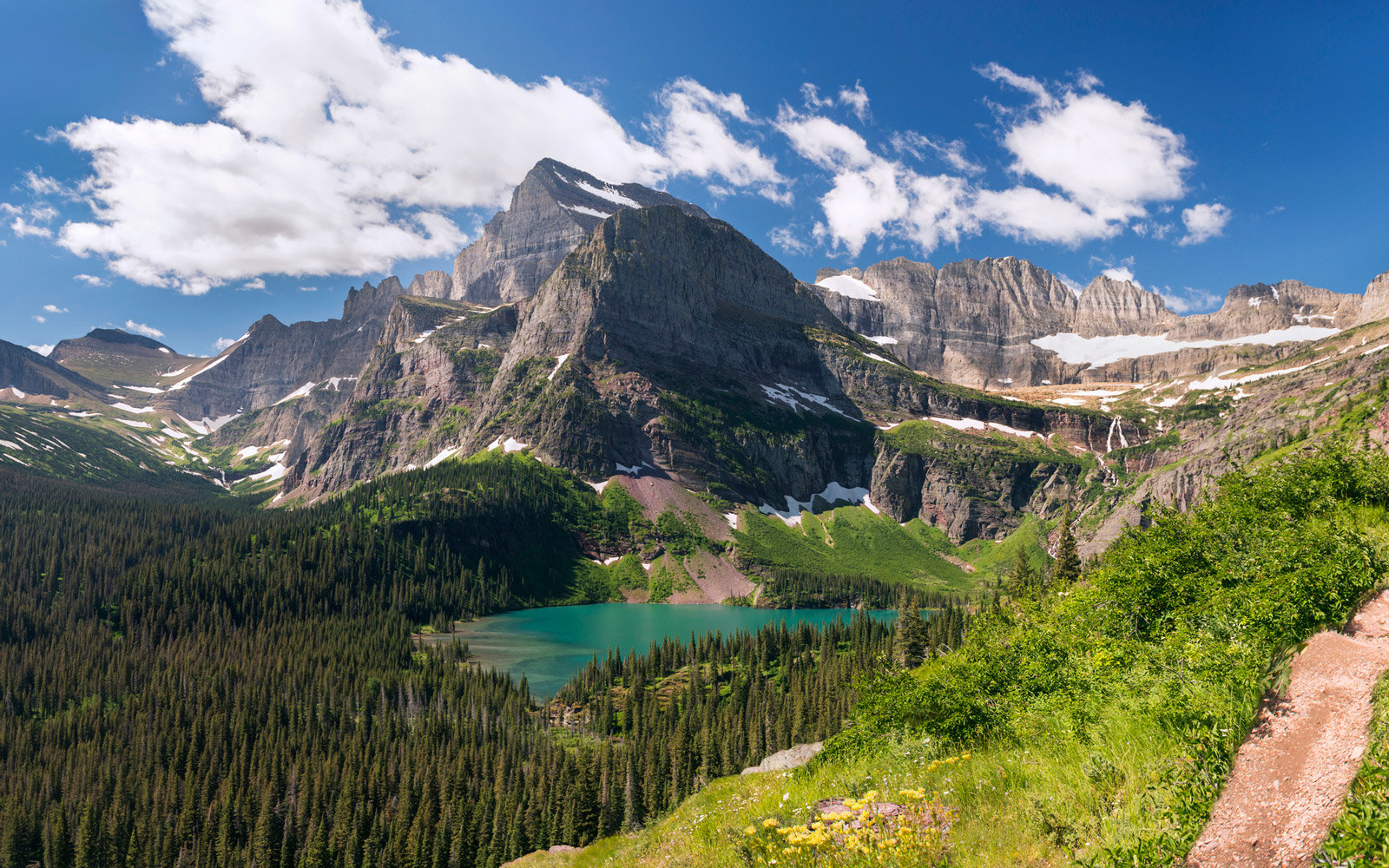 Panoramic view of Grinnell Lake and glacier from the Grinnell Glacier Trail at Glacier National Park in Montana.