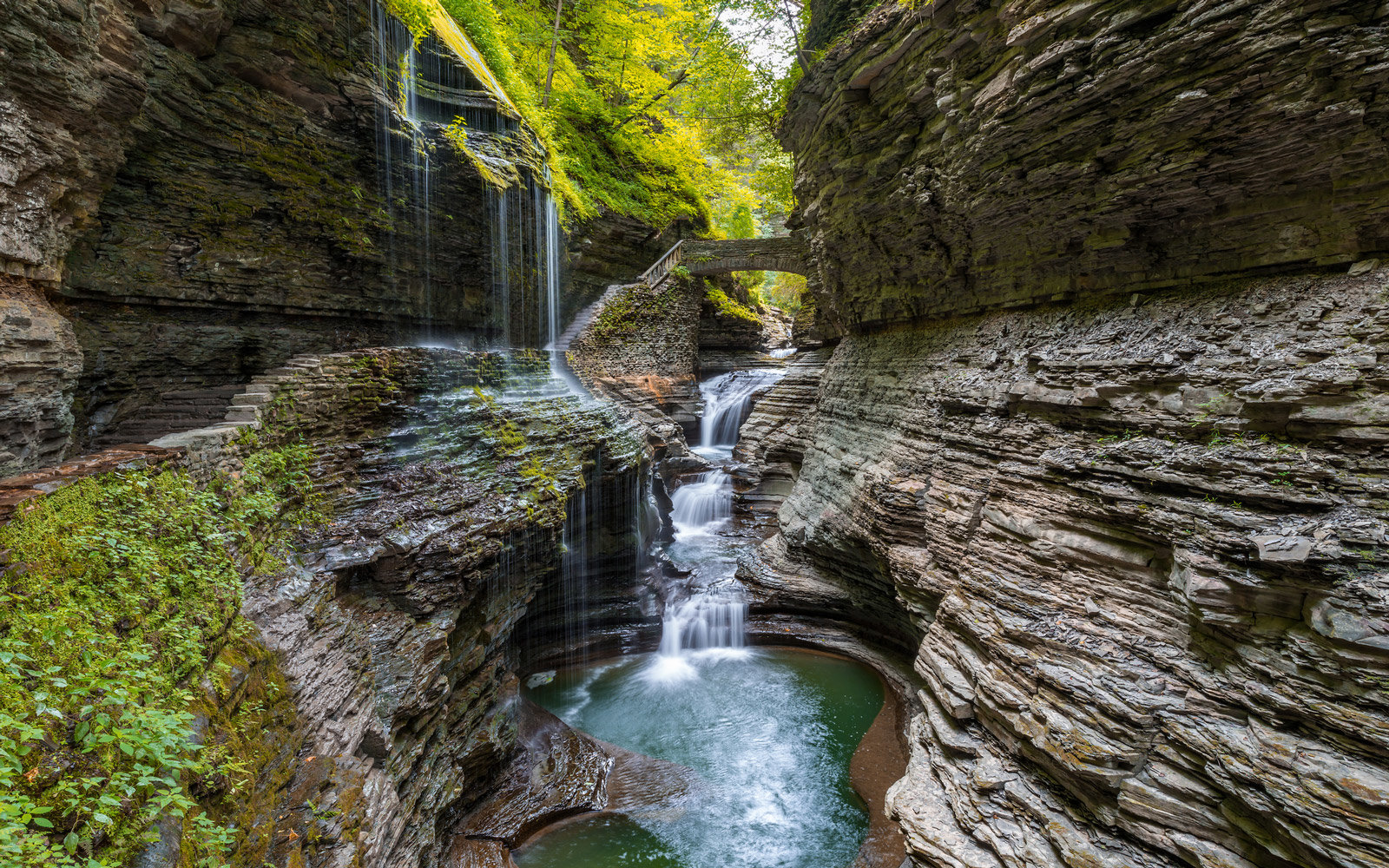 Rainbow Falls of Watkins Glen State Park Finger Lakes region of New York state.