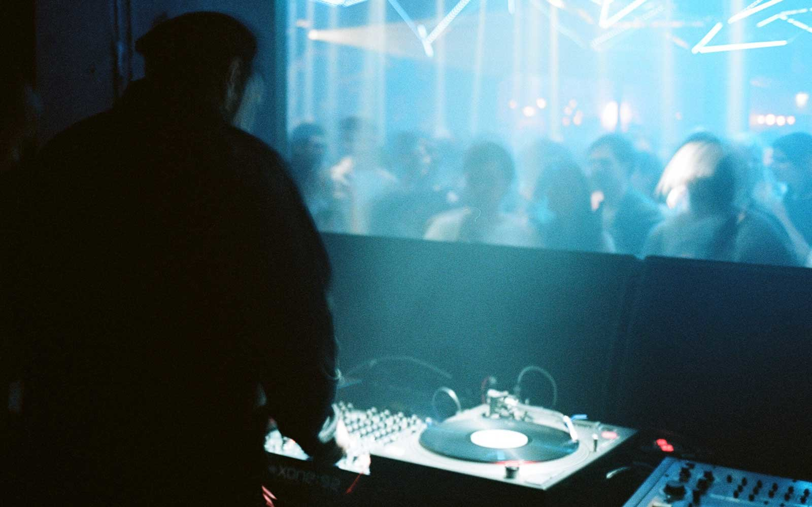 DJ booth at Grelle Forelle nightclub in Vienna, Austria