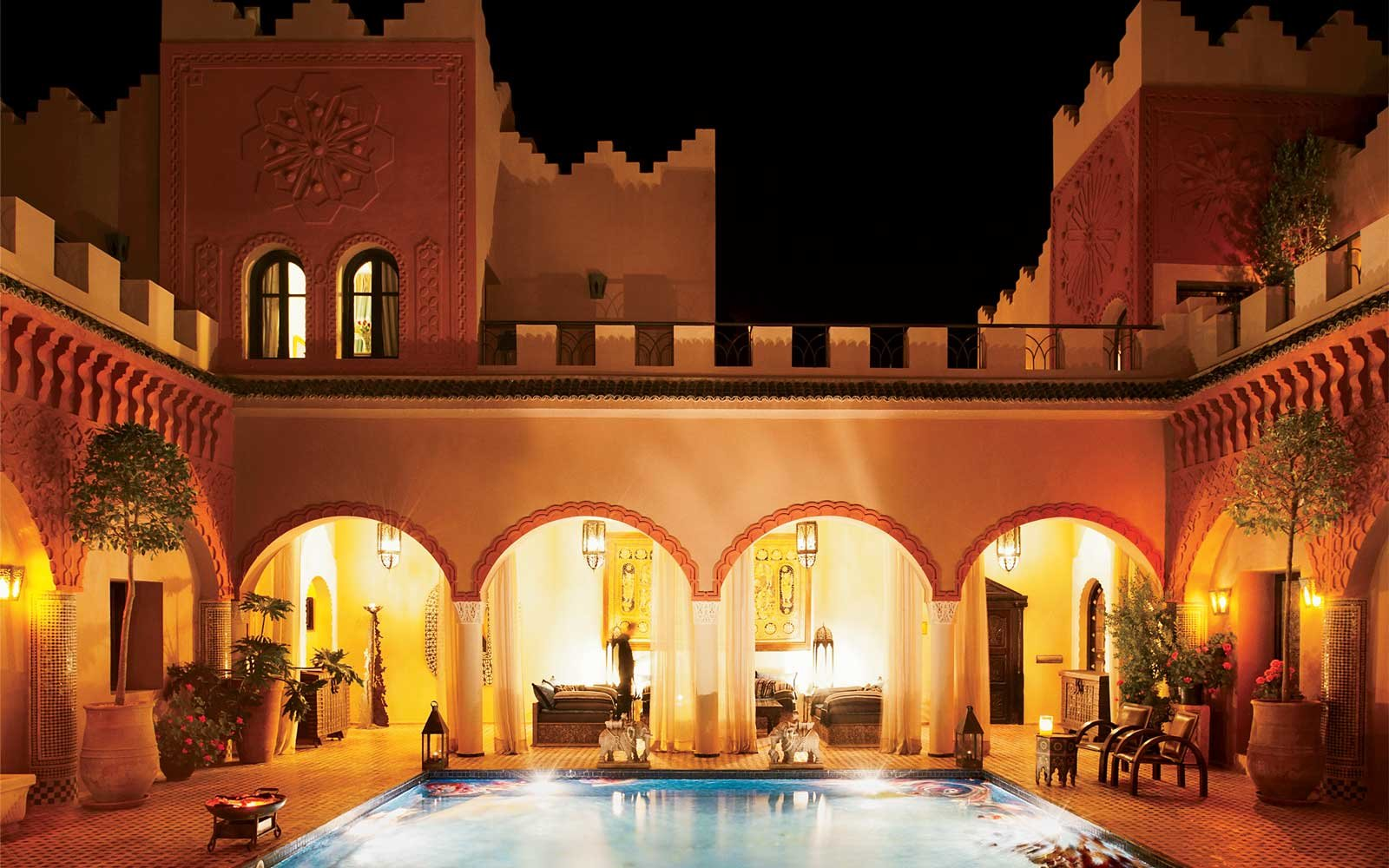 The pool at Kasbah Tamadot, in Marrakech, Morocco