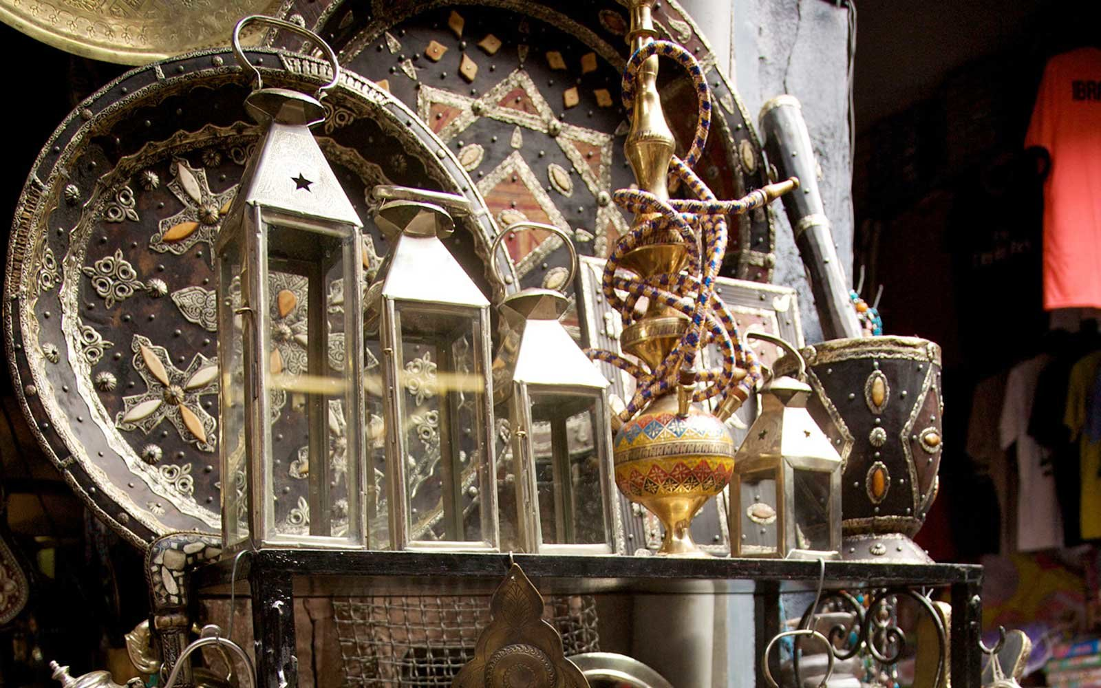 Goods on display at Porte d'Orient, in Marrakech