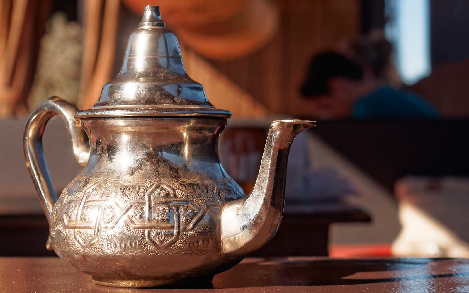 Detail of a tea pot in Marrakech, Morocco
