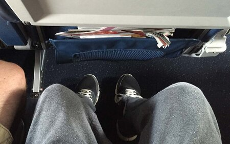 7c4991915649 Here s How Much Space You Get Under the Seat in Front of You on Every  Airline