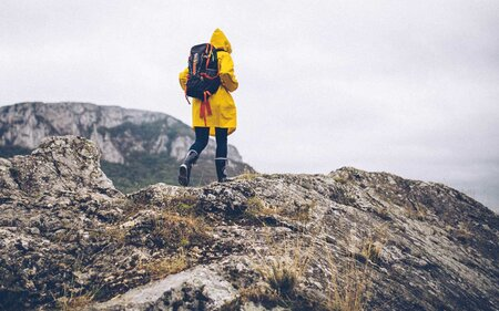 Woman in yellow raincoat hiking in wet weather f0f2fe1d88