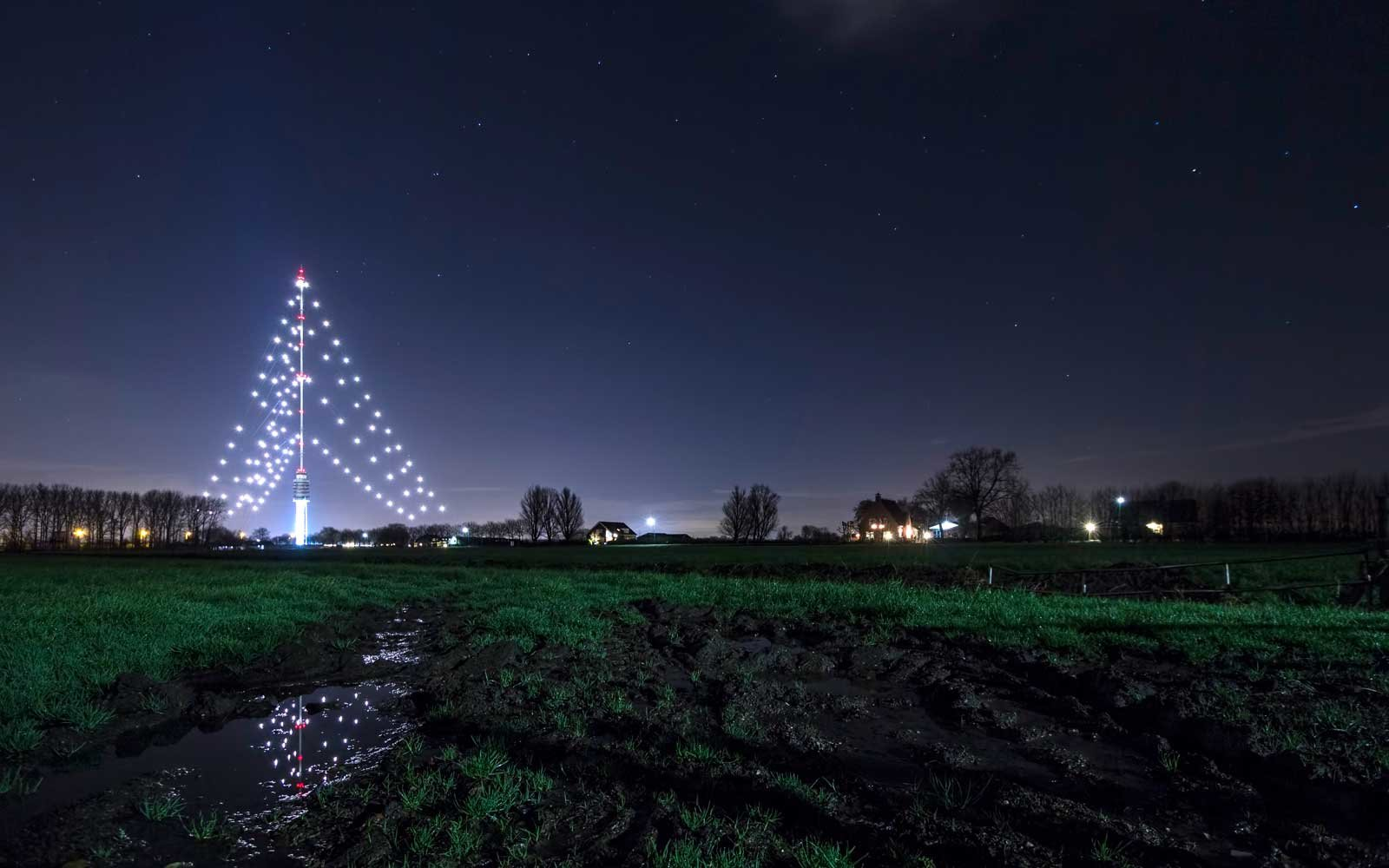 Radio tower Christmas tree in the netherlands