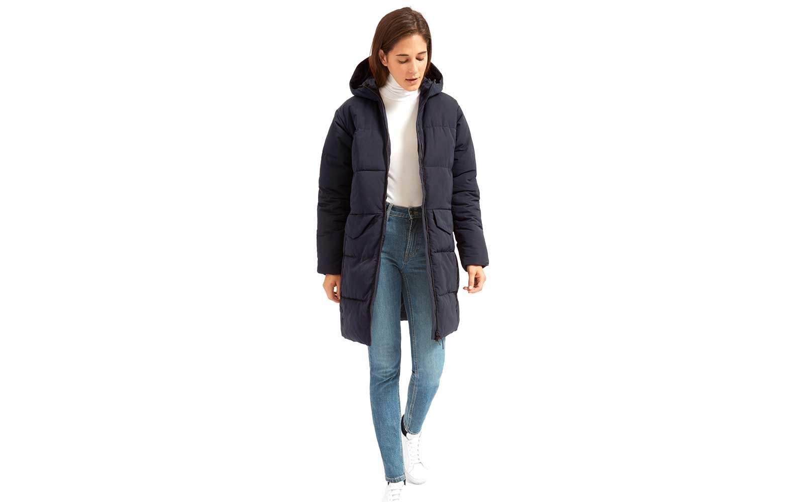 Navy puffer coat with hood by Everland