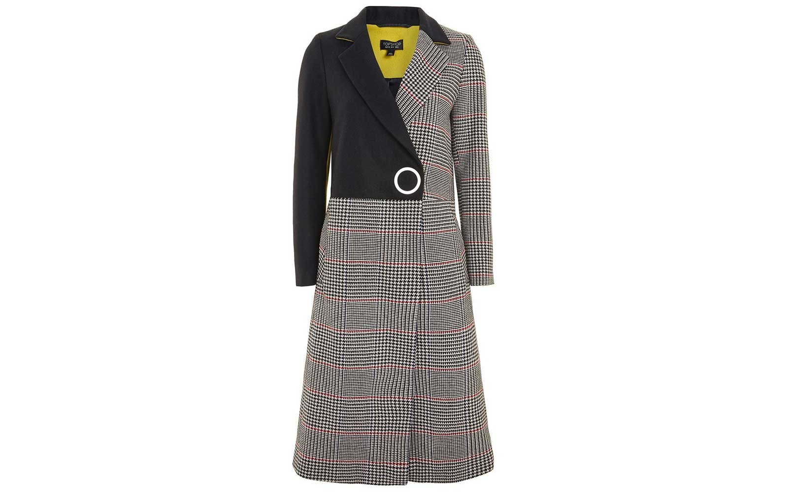 Mixed pattern overcoat from Topshop