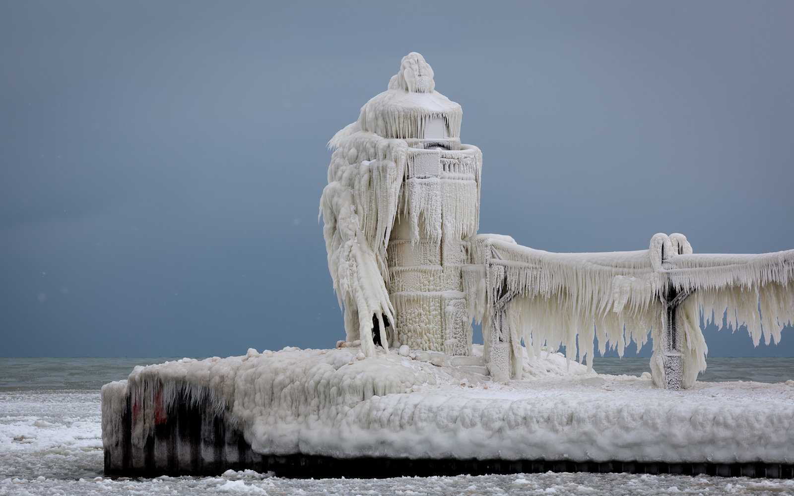 Frozen Lighthouse, St. Joseph, Michigan