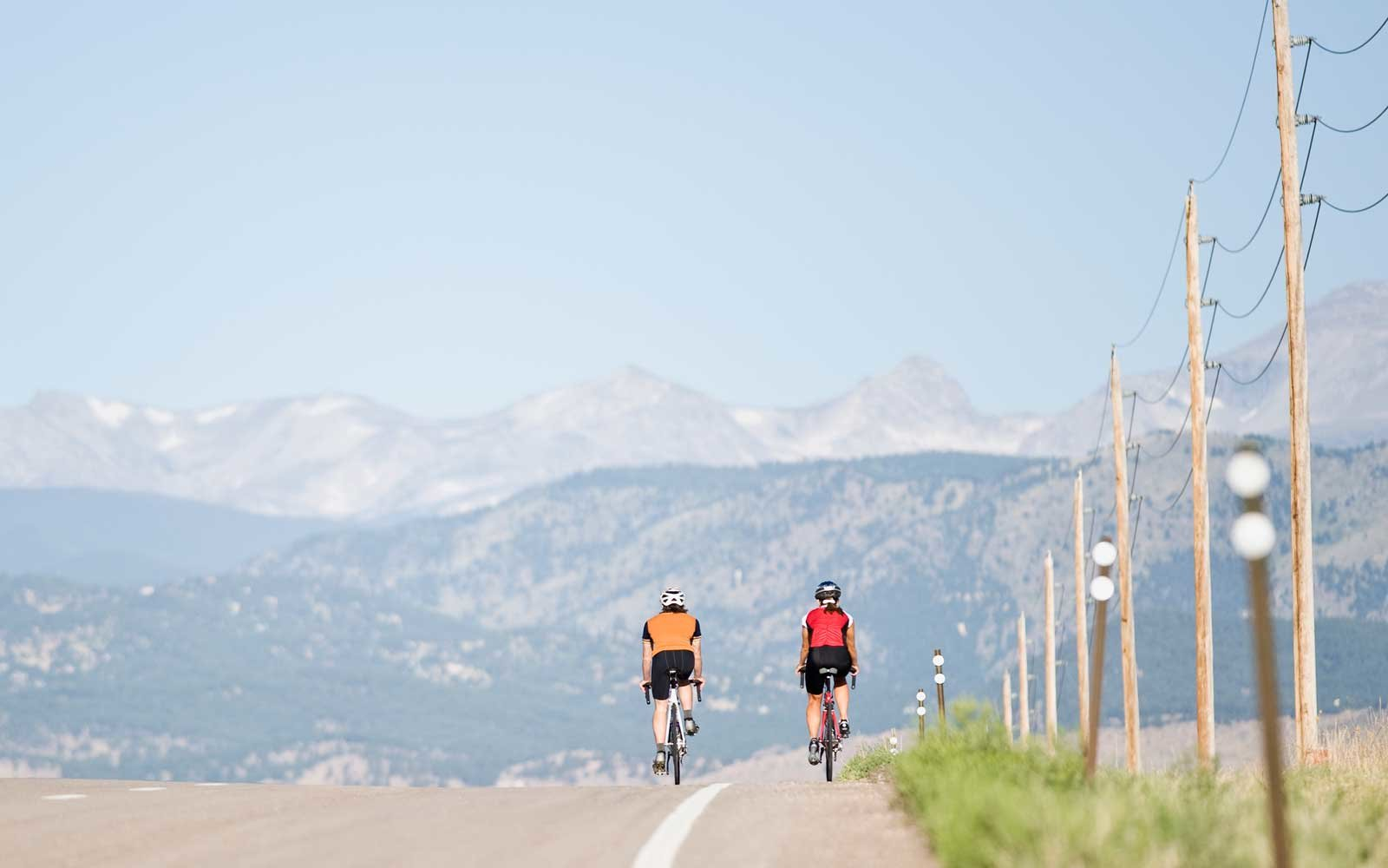 Two cyclists riding on country road, rear view