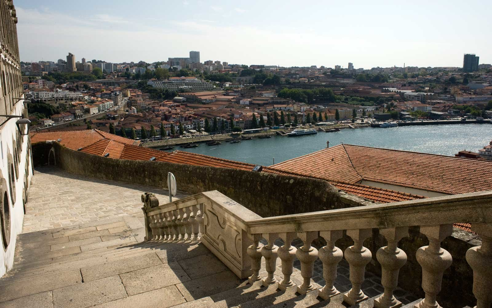 Douro River from the stone steps leading down from the Porto Cathedral or the Sé Cathedral which is located on a hill in Pena Ventosa which is in the heart of the old town.