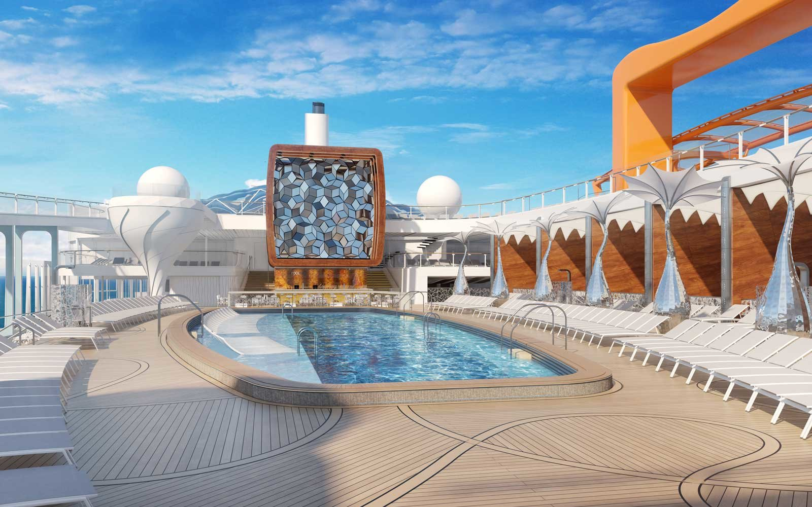Rendering of the pool deck on the Celebrity Edge